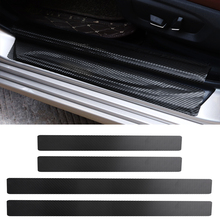 4Pc Black Car Door Plate Stickers Carbon Fiber Look Sticker Sill Scuff Cover Anti Scratch Decal Universal For All