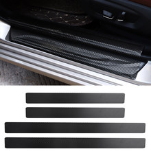 4Pc Black Car Door Plate Stickers Carbon Fiber Look Car Sticker Sill Scuff Cover Anti Scratch Decal Universal For All Car(China)