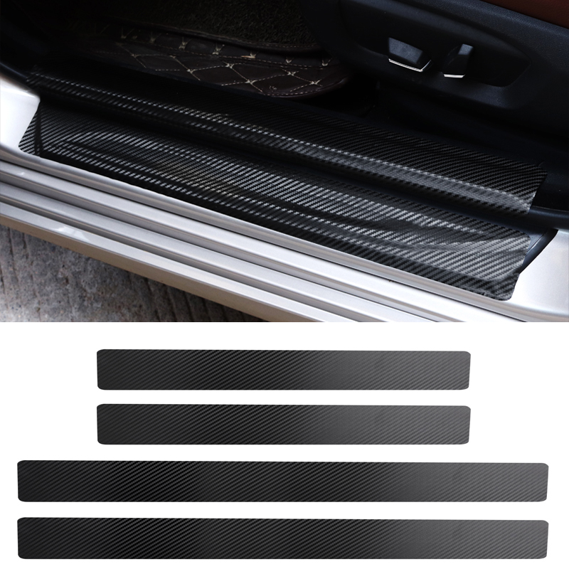 Xotic Tech 4 x Car Carbon Fiber Pattern Door Sill Pedal Protector Sticker Anti-Scratch Decal Xotic Tech Direct