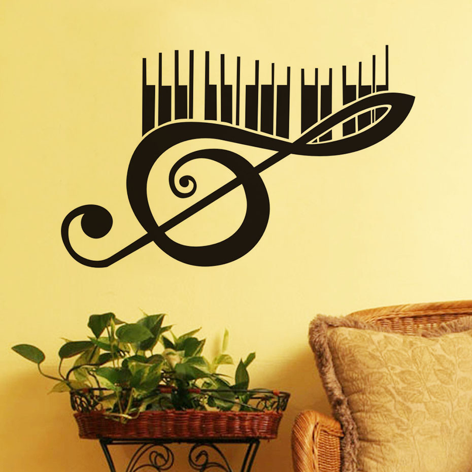 Large Size Piano Music Note Wall Decals Vinyl Removable Art Murals ...
