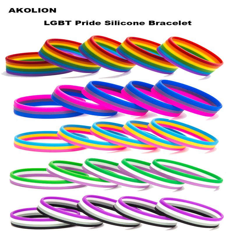 LGBT Pride Rainbow Pansexual Asexual Genderqueer <font><b>Bisexual</b></font> Silicone Rubber Bracelets Gay Lesbian Wristband <font><b>Jewelry</b></font> 1PCS image