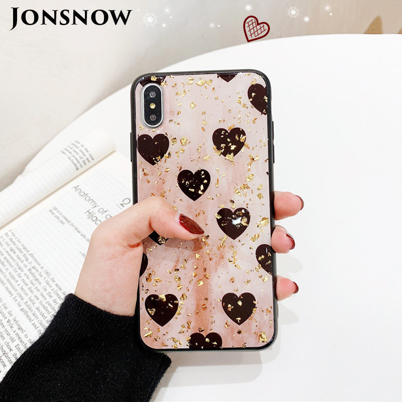 KIPX1088_1_JONSNOW Phone Case for iPhone XS XR XS Max 6S 7 8 Plus Gold Foil Love Heart Style Tempered Glass Back Cover Cases