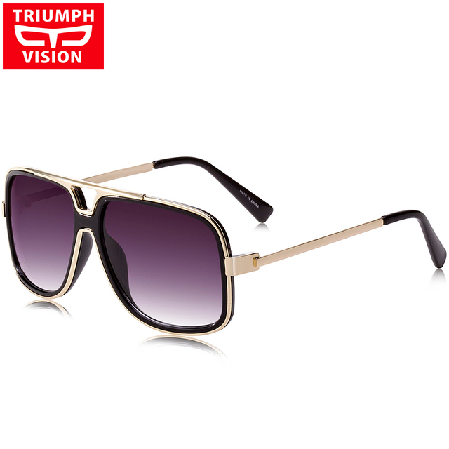 TRIUMPH VISION UV400 Gradient Sun Glasses For Men Luxury Pilot Metal Sunglasses Male 2017 Fashion Brand Designer Square Shades
