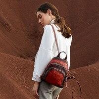 Пояса из натуральной кожи мода молния женская сумка мягкая задняя Винтаж Женский рюкзак твердый цвет повседневное Ежедневно Девушка Рюкза