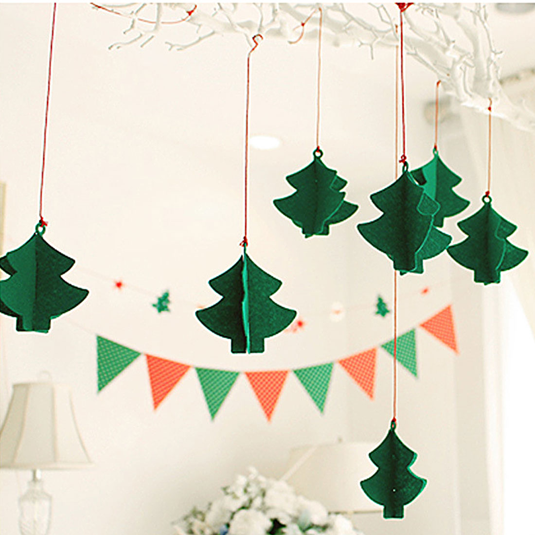 New Christmas Tree Wall Hanging Drop Ornaments House Flag Banner ...
