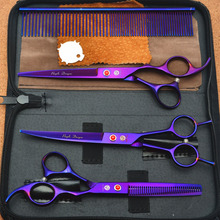 "4Pcs Suit 7.0"" Purple Dragon Professional Hair Hairdressing Scissors Comb + Cutting Shears + Thinning + UP Curved Shears Z3002P"