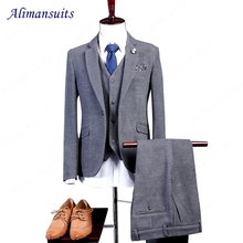 Men Suits Slim Fit Best Men Grey Wool Groom Tuxedos Mens Wedding Suits 2017 Groomsmen Suits One Button Mens 3 Pieces Suit