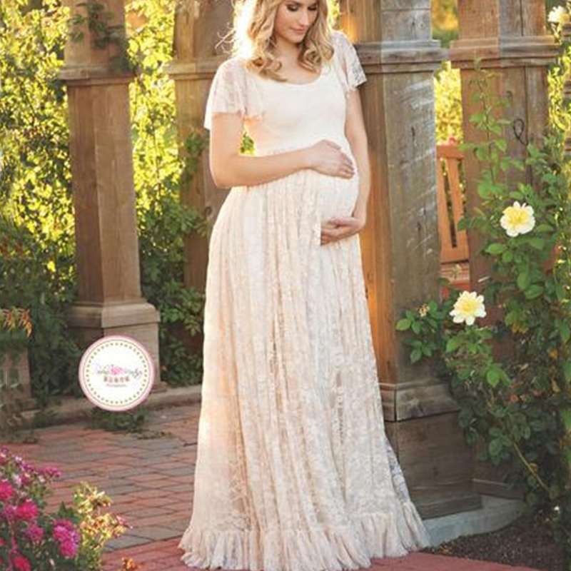 2017 Hot Sale Maternity Photography Props Pregnancy Wear Elegant Lace Party Evening Dress Maternity Clothing For Photo Shoots недорого