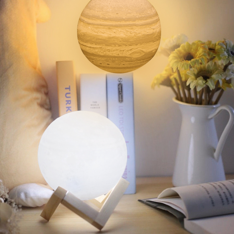 3D Print Jupiter Lamp 3 Color Change Touch Sensor Switch Rechargeable Light Bedroom Night Light Home Decoration Creative Gift