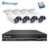 Techage 4CH 1080P 48V POE NVR Kit 2MP 3000TVL Security PoE IP Camera CCTV System Outdoor IR Night Vision P2P Surveillance Set