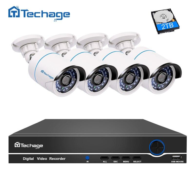 Techage 4CH 1080 P 48 В POE NVR комплект 2MP 3000TVL безопасности IP Камера POE CCTV Системы Открытый ИК Ночное видение P2P наблюдения комплект