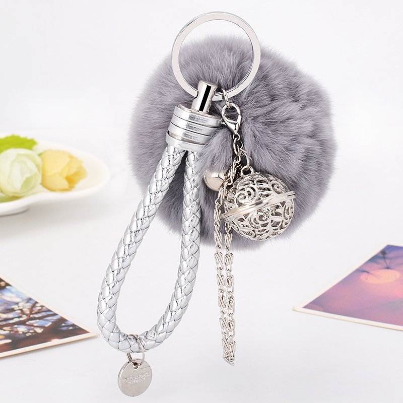 European and American Hot Marketing Fur Pom Pom Fluffy Ball Keychain Fur Ball Key Chain Key