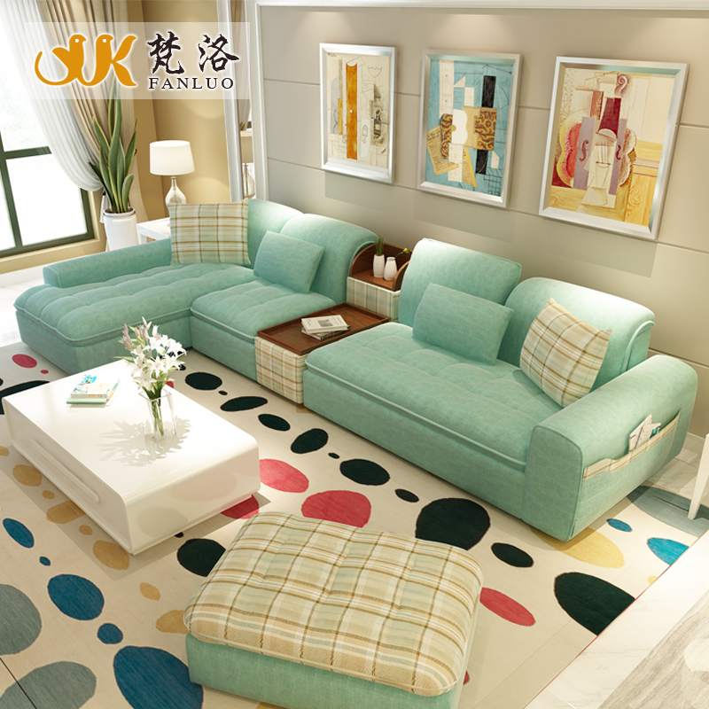 Luxury Living Room Furniture Modern L Shaped Fabric Corner Sectional Sofa Set Design Couches For Green Blue Color