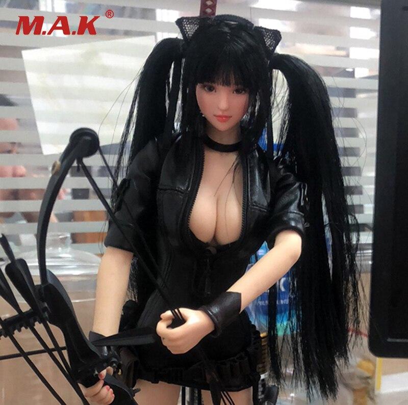 1/6 Scale Bunches Lolita Headplay Figure OB Head Model Female Sculpt Black Hair 12 suntan color Action Collection