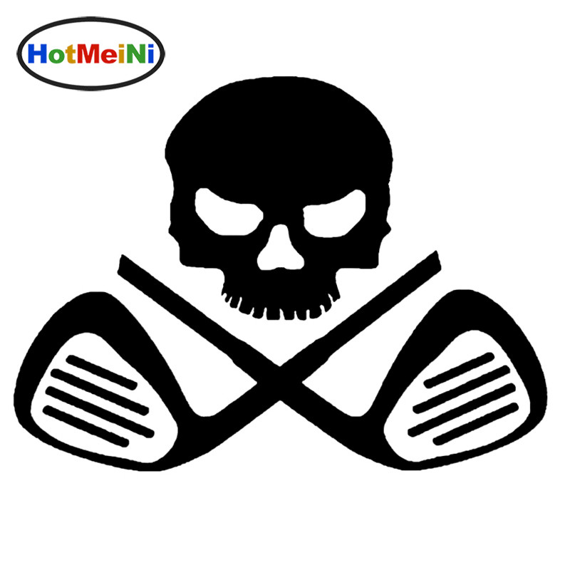 HotMeiNi Golf Club Crossbone License Car Sticker Plate Putter Driver Golf Balls Truck Door Vinyl Decal Skull Cue Elegant Sports