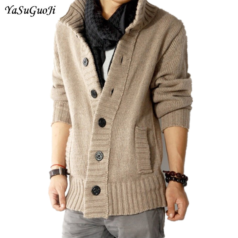 Free shopping new 2017 autumn outdoors polo collar slim fit mens sweaterss big button de ...
