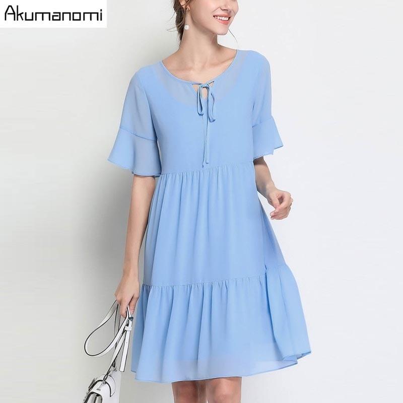 Summer Chiffon Dress Women Clothing Blue Lace-up V-neck Flare Short Sleeve Cupcake A-line Dress Plus Size 5XL 4XL 3XL 2XL XL L