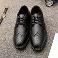 Primavera y Otoño Nuevo estilo de los hombres de Bueyes tallados Barrocos s zapatos Oxford Encaje En Relieve de Cuero de Ocio Zapatos de Los Hombres tamaño 39-44