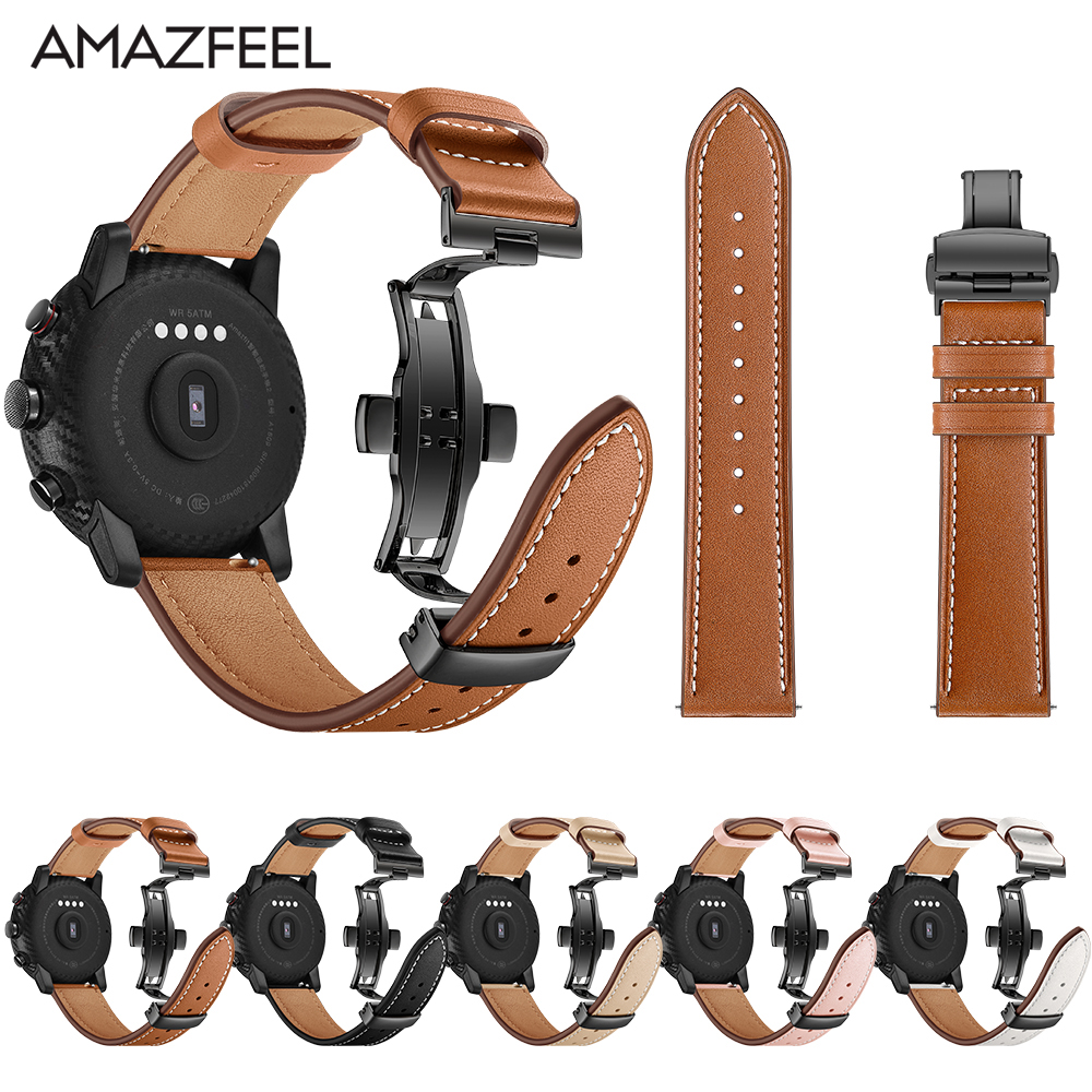 Leather Strap for Xiaomi Huami Amazfit PACE Stratos Smart Watch Bracelet for Xiaomi Amazfit Band Strap Metal buckle Leather Belt