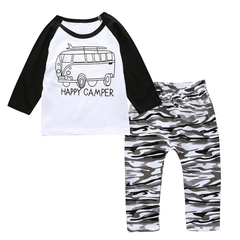 Toddler Infant Newborn Baby Girls Boys Clothes Set Cotton Happy Camper T-shirts+Camouflage Pants 2pcs Clothing Sets Baby Outfits t shirt tops cotton denim pants 2pcs clothes sets newborn toddler kid infant baby boy clothes outfit set au 2016 new boys