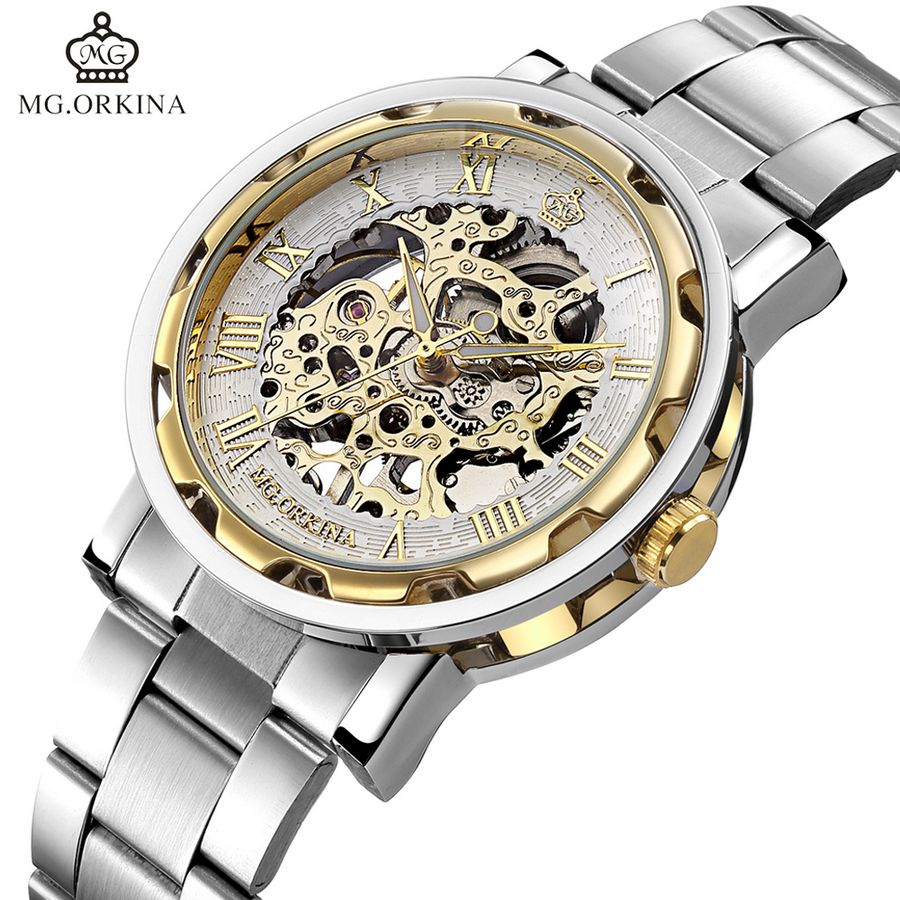 MG.Orkina Fashion Watch Retro Mens Skeleton Hand Wind Mechanical Watches Wristwatch Gift Box Free Ship