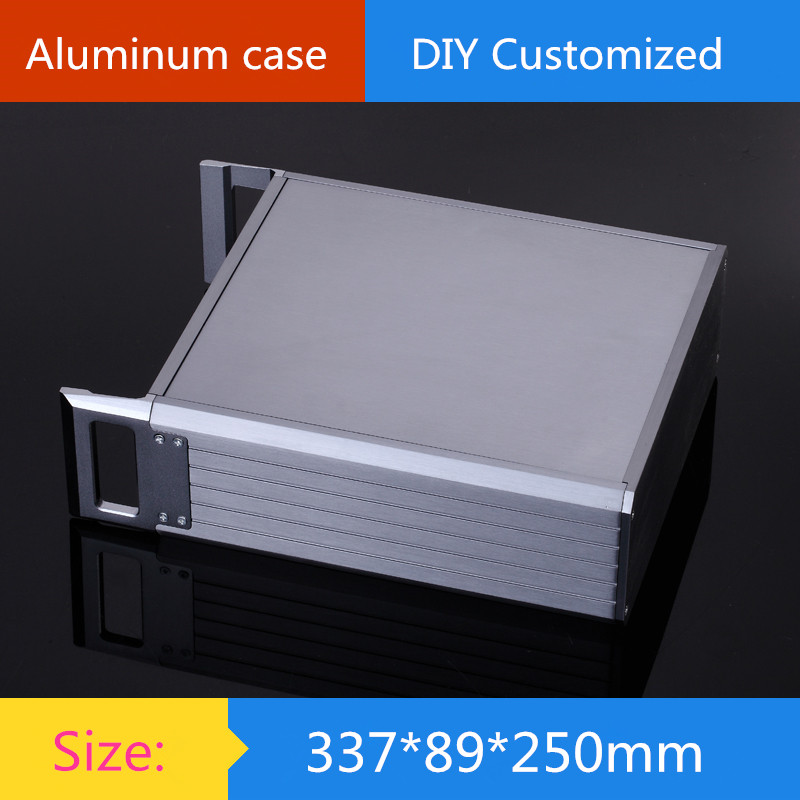 2U aluminum chassis / Instruments chassis /amplifier case /AMP Enclosure / case / DIY box ( 337*89*250 mm) diy amplifier case 420 140 385mm a2001b full aluminum power amplifier chassis amp enclosure case box external radiator