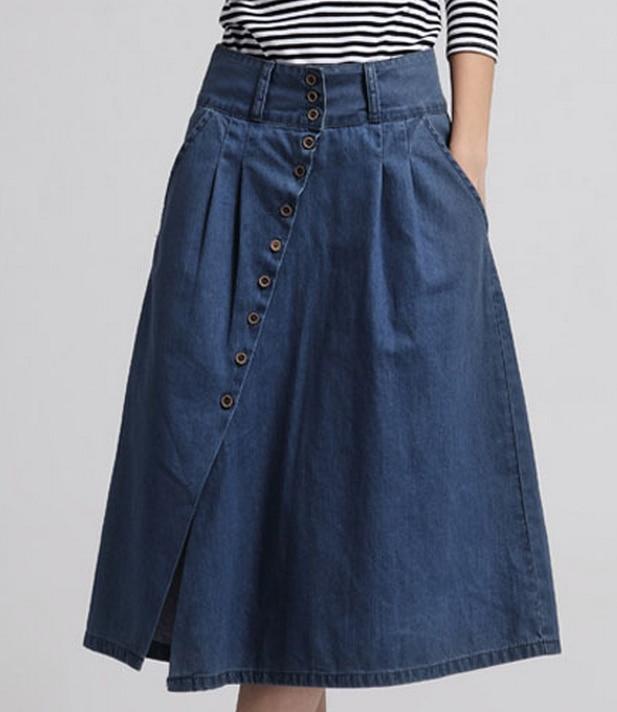 Summer style 2016 women denim skirts casual plus size maxi long skirts vintage botton high waist ...