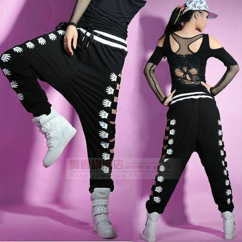 2014 nouvelle mode adulte Harem Hip Hop joggers lâche Sexy découpe pantalons de survêtement Costumes évider côté pantalon de danse de paume