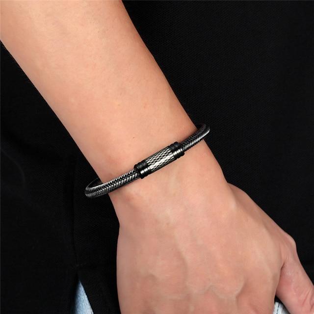 Купить новый черный/белый плетеный браслет из стальной проволоки с