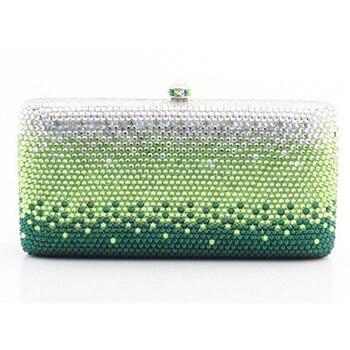 Marca XIYUAN, bolso de mano verde, cadena de lujo para mujer, cristal, para fiesta, bolso de mano con diamantes de imitación, bolso de mano brillante para mujer, bolso de noche