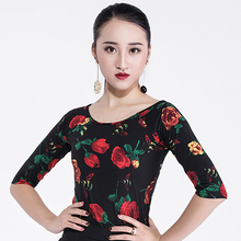 Slim Latin Dance Top Rose Print Rumba Samba Cha Cha Stage Dance Wear Ballroom Salsa Dancing Performing Clothes For Women DC1038