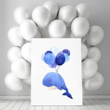 Whale With Balloons Wall Art