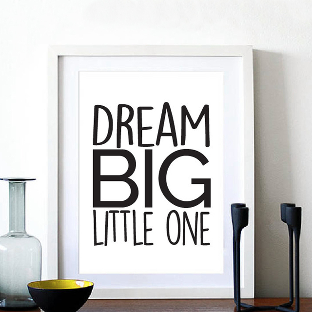 Dream Big Little One Quote Canvas Painting Nursery Wall Art Black ...