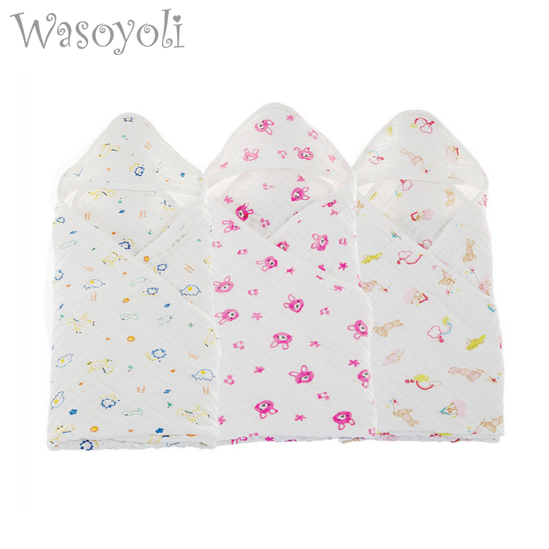Wasoyoli Baby Envelope Swaddle 70*70cm 100% Seersucker Muslin Cotton Newborn Baby Blanket Wrap Swaddle Sleeping Bag Sleepsack