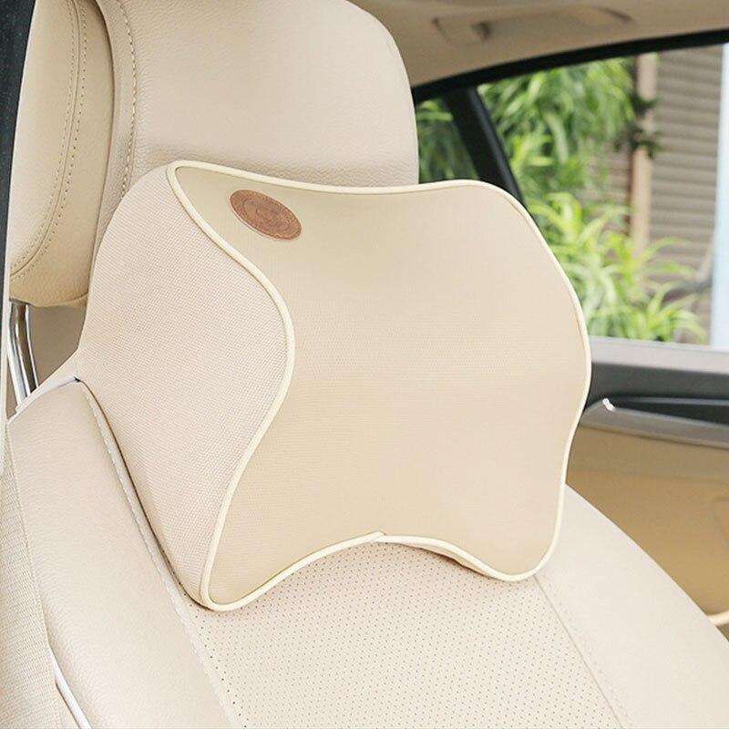 Dongzhen 1X Auto Car Pillow Space Memory Foam Fabric Neck Headrest Car Cover Vehicular Pillow Seat Headrest Neck Accessories