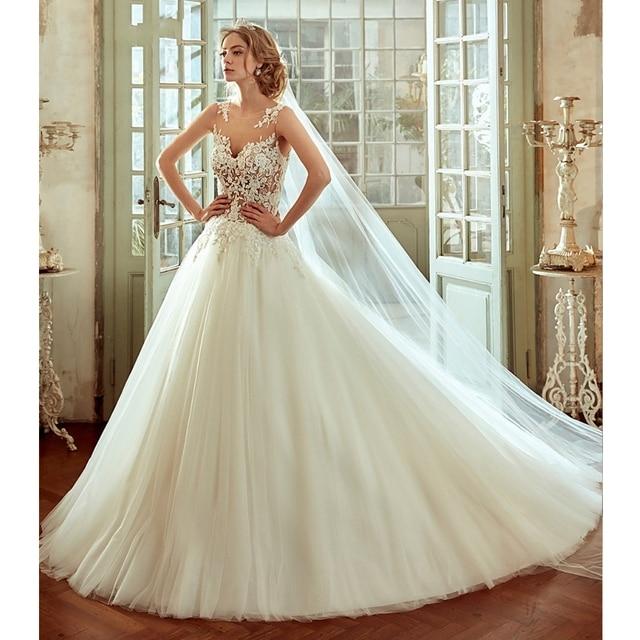 New Hot Designer Scoop Neck Bohemian Style A Line Princess Wedding Dress 2017 Liques Beaded Prarls