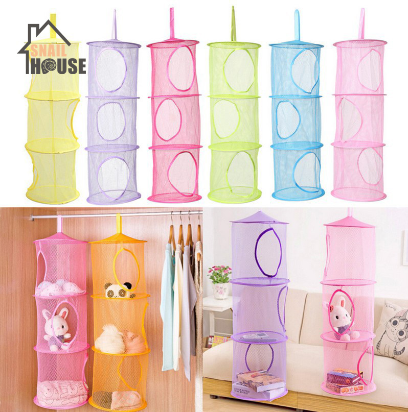Snailhouse Color Net Hanging Multi layer Storage Cage Cylindrical Storage Bag Hanging Basket Organizador Durable in Storage Bags from Home Garden