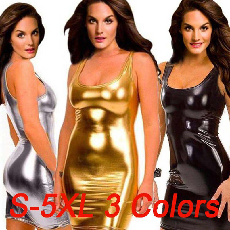 Plus Size S-5XL Women's Sexy Latex Slip Tight Mini Dress Costumes For Clubwear Stripper Party Fancy Dress