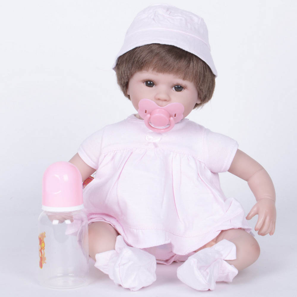42cm Silicone Soft Realistic Reborn Baby Doll Lifelike Girl Newborn Babies with Cloth Body Toy for Kids Birthday Xmas Gift silicone reborn doll baby 22 inch lifelike newborn girl babies handmade cloth body toy with purple dress kids birthday xmas gift