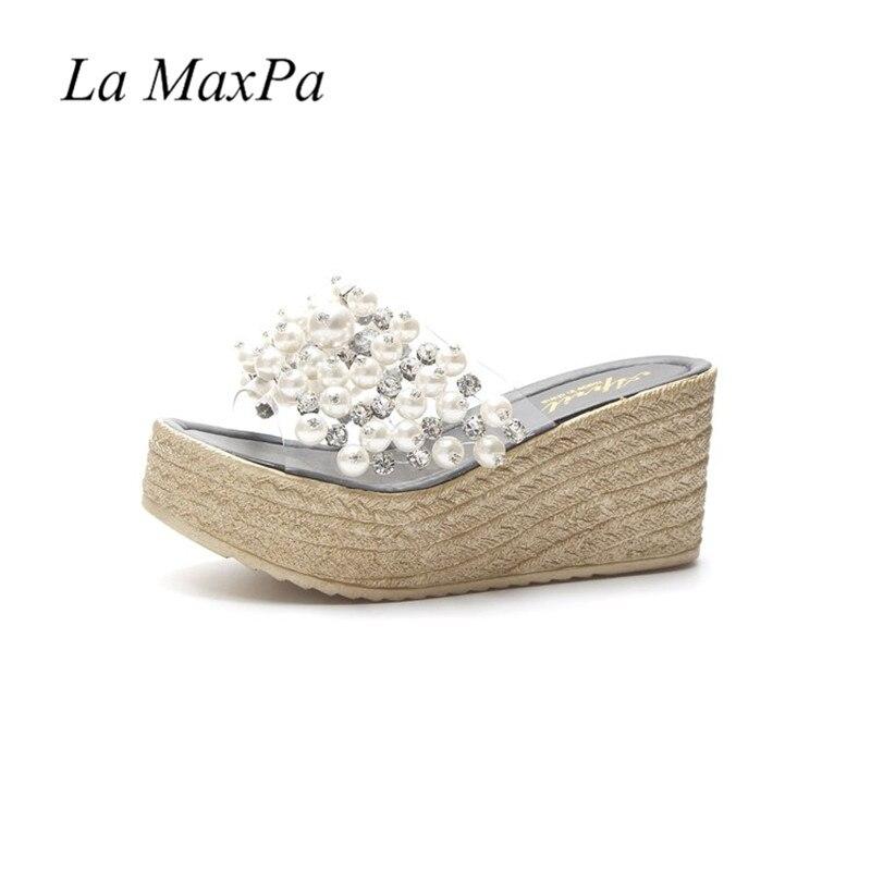 27f0cebf8cdd3a Beach Slippers Women Flip Flops Wedge Slippers PVC Transparent Shoes  Platform Wedges Sandals Crystal Pearl 7.5cm High Heels