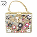 Flower Appliques Crystal Diamond Women Gold Evening Box Totes Bag Handbags and Crossbody Bag Wedding Party Clutch Shoulder Bag