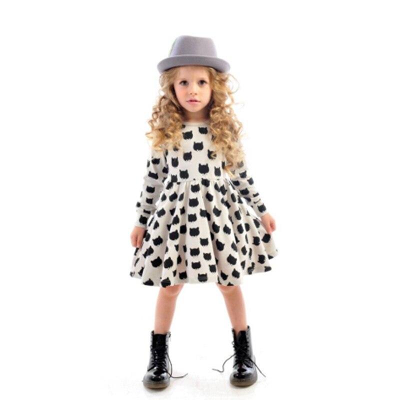 New Casual Spring Autumn Kids Girls Clothing Dresses 100% Cotton O-Neck Long Sleeve Dot Children Girls Dresses Skirts Suits 2018 spring new korean girls cotton dot