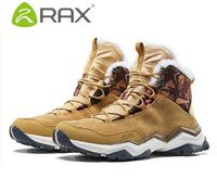 RAX men winter outdoor hiking shoes male genuine leather waterproof breathable lightweight warm hiking boots mens walking shoes