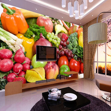 Fresh Fruits Vegetables Grape Banana Pineapple Photo Mural Customized Size Non-woven Paper For Wall Living Room 3D Wallpaper