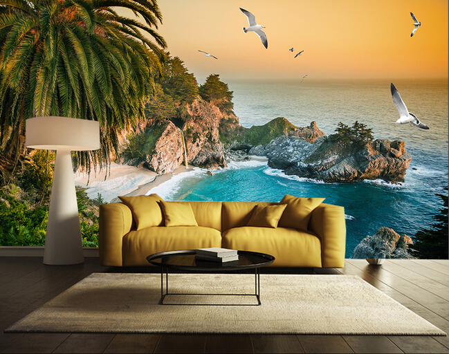 Custom wall mural landscape, the beach mural for the ...