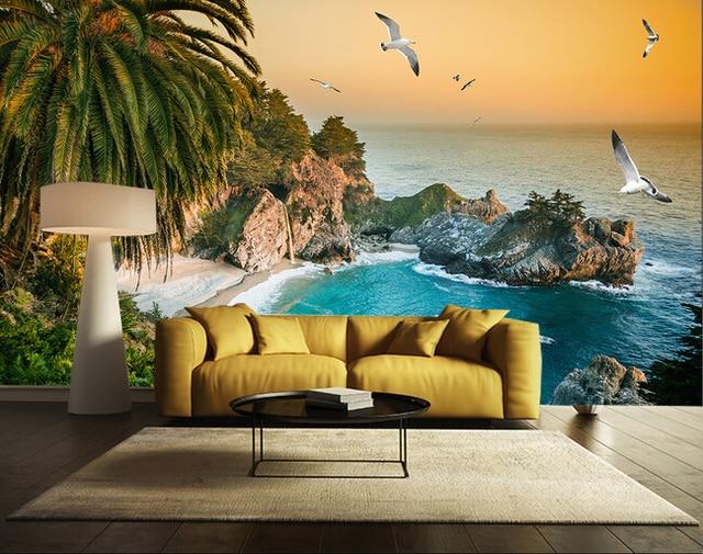 Encargo paisaje mural de la pared la playa mural de la for Vinilos murales paisajes