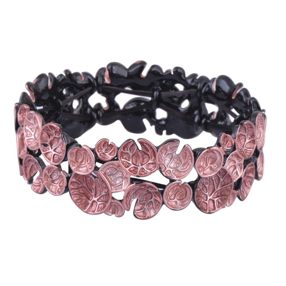 Fashion Black Gun Plated Vintage Flower Cuff Bracelet Elastic Cord