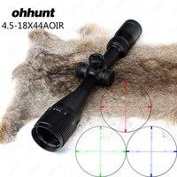 狩猟ohhunt 4.5-18 × 44 aoir光学フルサイズriflescopes r/g/b照明されたレチクル1インチチューブロックリセットライフルスコープサイ