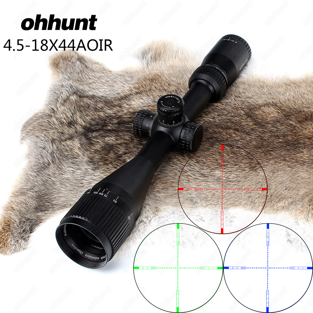 Hunting ohhunt 4.5-18X44 AOIR Optical Full Size Riflescopes R/G/B Illuminated Reticle 1 inch Tube Lock Reset Rifle Scope SightHunting ohhunt 4.5-18X44 AOIR Optical Full Size Riflescopes R/G/B Illuminated Reticle 1 inch Tube Lock Reset Rifle Scope Sight