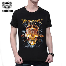 Rocksir Hot 3D Megadeth Rock Tshirt Fashion Hip Hop Skull Printed Cotton T-Shirt Men Casual Short Sleeve Summer Street Tops Tee